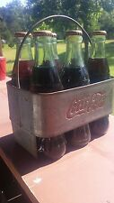 1940's Era Vintage Coca Cola Embossed Orig. Coke 6 Bottle Carrier & Handle Metal