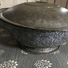 Antique Enamelware Bread Dough Rise Bowl Pan Tin Graniteware Primitive