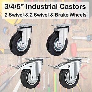 """3/4/5""""(75/100/125mm) 2 Swivel & 2 Swivel Casters with Brake Rubber Wheel Castor"""
