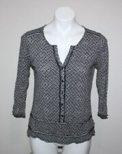 LUCKY BRAND Womens Black Button Front Top Size XS