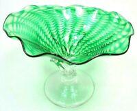 GREEN ART GLASS PEDESTAL CANDY DISH BOWL RIBBON PATTERN RUFFLE EDGE HAND BLOWN
