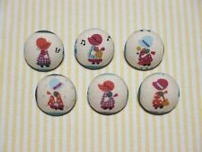 6 Blue Sun Bonnet (Holly Hobby) Fabric Covered Buttons - 20mm