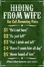 Hiding From Wife Bar Phone Fees Plastic Sign Plastic Sign - 12x18