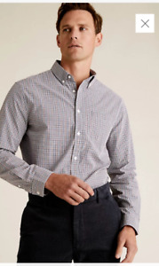 Marks & Spencer Pure Cotton Gingham Checked Shirt Size L ,,,,,,.............