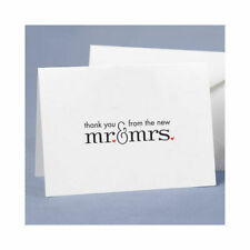 Mr. and Mrs. Thank You Cards with Red Hearts Wedding Thank you Cards