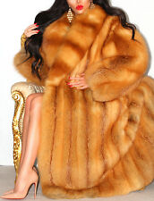 LUXURIOUS GOLDEN RED REAL FOX FUR COAT LONG FULL LENGTH JACKET FANTASTIC! L XL