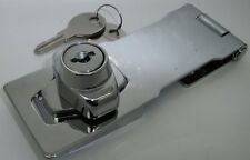 120mm LOCKING CHROME HASP & STAPLE WITH KEYS with BUILT IN LOCK
