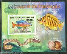 BURUNDI 2014 FISH OF LAKE TANGANYIKA I  SOUVENIR SHEET IMPERFORATED   MINT NH