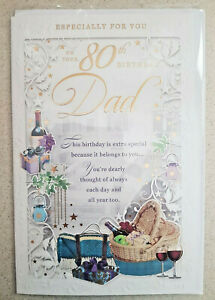 DAD 80TH BIRTHDAY CARD STUNNING DETAIL BEAUTIFUL WORDS  LARGE MULTI PAGE CARD