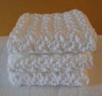 Set of 3 - Handmade Crochet Wash Cloths Dish Cloths - 100% cotton White
