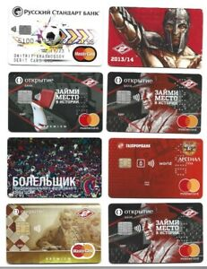 8 FOOTBALL SOCCER RUSSIAN SAMPLES BANKING CREDIT CHARGE CARDS