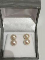 BELLES  BOUCLES  D'OREILLES  OR  18 K / 750// perles culture -