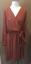 Nwt Land's End 20w Attached Wrap Lined Dress Long Sleeve V Neck