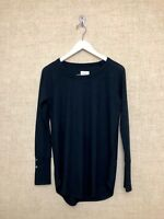 Womens Chaser Waffle Top Shirt Blouse Black Size Medium M Long Sleeve Pullover
