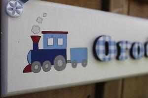 Children's bedroom door sign name plaque blue white gingham with train