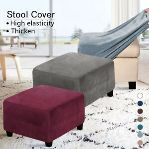 Velvet Footstool Cover Stretch Stool Ottoman Sofa Slipcover Protector Square NEW