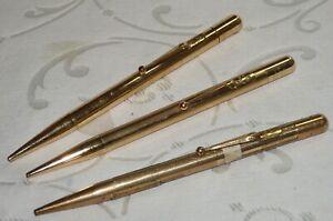 3 x VINTAGE FYNE POYNT MABIE TODD PROPELLING PENCILS ROLLED GOLD JOB LOT (P)