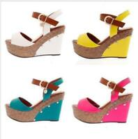 Womens Ladies Peep Toe Buckle Strap Wedge High Heel Sandals Shoes 4 Colors Sz