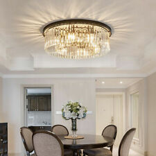 Contemporary Luxury Black Metal Crystal Glass Round Ceiling Lights Flush Mount