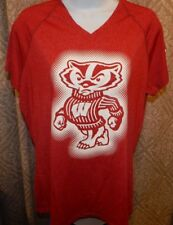 adidas WISCONSIN BADGERS CLIMALite Red Heather SS Tee / T-Shirt Women's Large