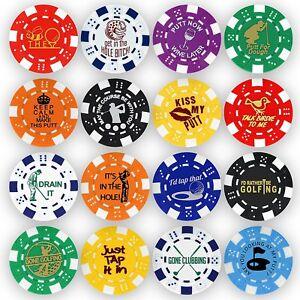 Golf Ball Marker Poker Chip Collection, 16 chips (11.5 gram chips)