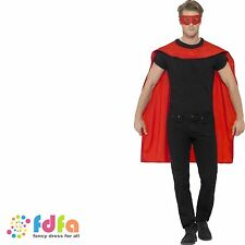 Red super hero mi-longue cape & masque adulte femmes costume robe fantaisie homme