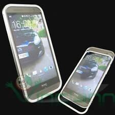Custodia BUMPER metallo SILVER per HTC One M8 cover alluminio ARGENTO NUOVO