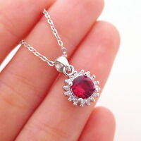 Solid 925 Sterling Silver Red Ruby Cut CZ Pendant Necklace Jewellery 3 Chains