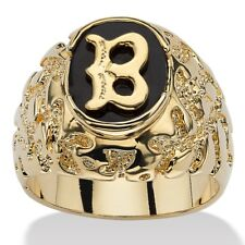 14K GOLD ONYX LETTER B  INITIAL NUGGET RING SIZE GP 8 9 10 11 12 13