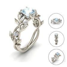 Frauen Floral Ring Transparent Aquamarin Hochzeit Engagement Schmuck Geschenk HQ