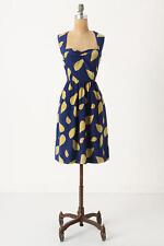 Anthropologie Maple Tupelo Dress 2 XS Blue Gold Leaves Summer Fall