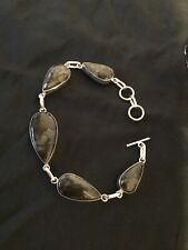 Silver and Black Agate Obisian Cabs Link Bracelet #5663