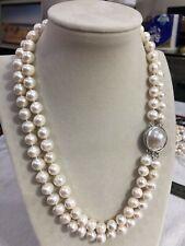 kultivierte 2 reihige 10-11mm weiß Süßwasserperlen Hochzeit Halskette 19-20 Zoll