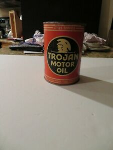 Vintage CITIES SERVICE-TROJAN MOTOR OIL EMPTY QUART CAN in Very Nice Condition