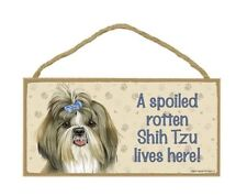 "Shih Tzu with Bow Spoiled Rotten Lives Here Sign Plaque Dog 10"" x 5"" Wood Gift"