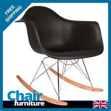 Rocking Chair RAR Rocker Armchair Retro Modern Lounge Dining Furniture BLACK