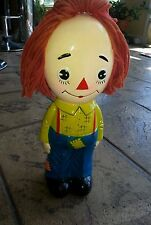"""Vintage 15"""" Raggedy Andy Doll Piggy Coin Bank plaster japan Rare"""