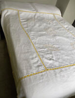 Vintage French Tablecloth 1930s Throw Bed Cover Cotten Linen Crochet Openwork