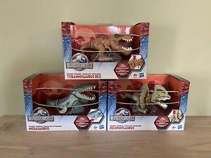 Jurassic World Chompers 3 Dinosaur Figure Set Mosasaurus Dilophosaurus T Rex NEW