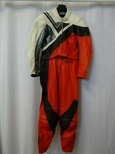 Women's Vtg DETLEV LOUIS 1980'S 2 Piece Leather Motorcycle Suit Size UK12 EU40