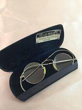 VTG Art Deco Ful Vue Round Eyeglasses Monogrammed Case 1938 Silver Tone