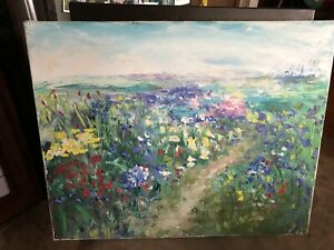 """SILVANO ASSENSI ORIGINAL OIL ON CANVAS PAINTING OF BLUE & GREEN FLOWERS 20""""x16"""""""