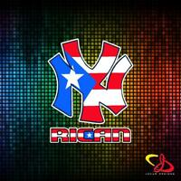 NEW YORK NY RICAN YANKEES WITH  PUERTO RICO FLAG VINYL CAR STICKER DECAL