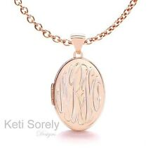 Hand engraved Rose Gold Personalized Oval Monogram Locket Sterling Silverw/Rose