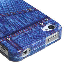 Blue Jeans w/Stud Snap-On Hard Case Cover Accessory for Apple iPhone 4 4S