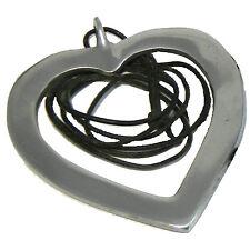 Herz Anhänger silberfarbig Liebe Symbol Halskette schwarz Schmuck Modeschmuck