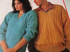 "Knitting Pattern Women Ladies Men Aran V Neck Jumper Aran 26-44"" Vintage"