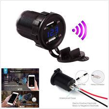 1*Black 12-24V 2USB 5V 4.2A Phone Car Charger Blue LED Digital Voltmeter Locator