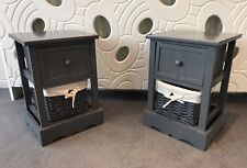 2 x Grey Bedside Tables With Wicker Storage Baskets Bedroom Furniture Cabinet