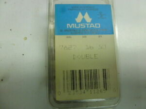Mustad 7827 Open Shank Double Hooks Size 16, 50 To a Box. Made in Norway